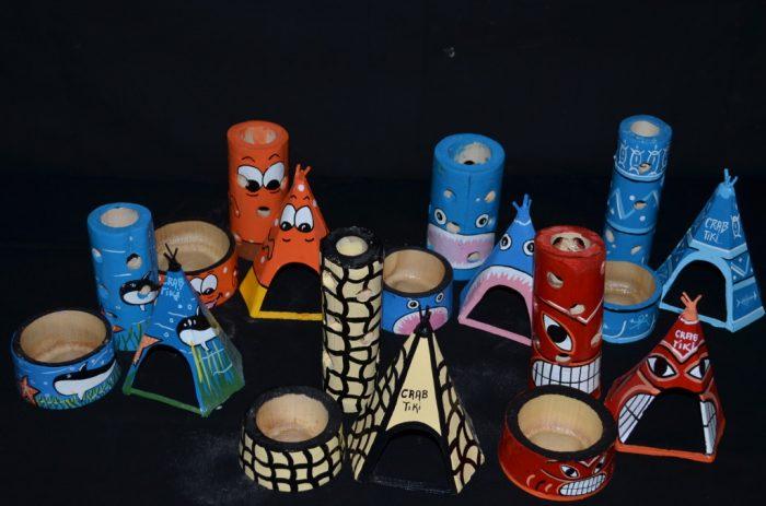 Hand Painted Bamboo tiki crab accessory set